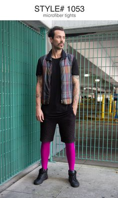 Above model Eric Puzio shot by Terry Tsiolis for Vogue Hommes Japan wearing We Love Colors tights Mens Leotard, Colored Tights Outfit, Guys In Skirts, Men Wearing Skirts, Footless Tights, Mens Tights, Pinterest Fashion, Tight Leggings, Super Skinny Jeans