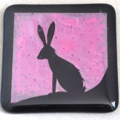 DREAMING HARE handmade animal wildlife fused glass coaster ( rabbit ) £15.99 by Animal Glass