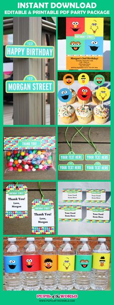 Sesame Street Birthday Party Printable Package - INSTANT DOWNLOAD - You Edit Yourself with Adobe Reader