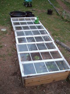 Mini greenhouse...Windows I scored on the way home from work. That they fit the planter so perfectly just amazes me. | Flickr - Photo Sharing!