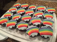 Rainbow cupcakes for Girl Scout bridging