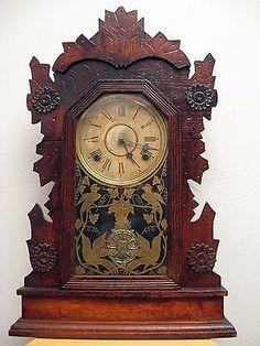 Gilbert clock Co Winsted Conn 8 day oak pressed case circa 1909 22 in  X 14