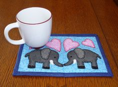 PDF Pattern for Elephant Mug Rug Elephant Mug by ShersPatternShop
