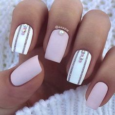 White Accent Nails for Elegant Nail Designs for Short Nails #NailJewelry
