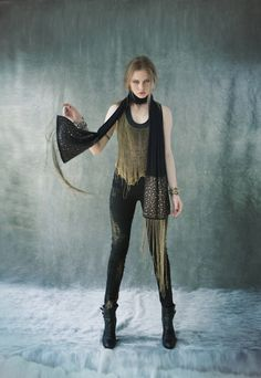 Cecilia De Bucourt Black with Gold Hand Knitted Chain Top and scarf with chain fringe