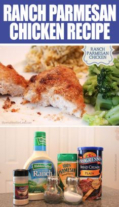 Ranch Parmesan Chicken from Emeals. Here's what you'll need: 1 cup dry breadcrumbs ⅓ cup Parmesan cheese 1 teaspoon … I Love Food, Good Food, Yummy Food, Yummy Yummy, Delish, Ranch Parmesan Chicken, Ranch Chicken Recipes, Simple Chicken Recipes, Shrimp Recipes