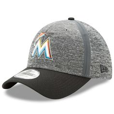 f9a8b102d8cf8 Men s Miami Marlins New Era Heathered Gray Black Clubhouse 39THIRTY Flex  Hat