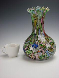 "Vintage AVEM Murano Art Glass Tutti Frutti Paperweight Vase 10"" & 7 Pounds"