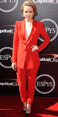 Last Night's Look: Love It or Leave It? Vote Now! | RACHEL MCADAMS | in a menswear-inspired Cristiano Burani red suit with matching trousers and two-tone Christian Louboutin pumps at the 2015 ESPYs.