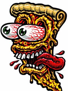 PIZZA FACE full color shaped vinyl sticker · Jimbo Phillips webstore · Online Store Powered by Storenvy Arte Dope, Dope Art, Cartoon Kunst, Cartoon Art, Pizza Cartoon, Graffiti Art, Pizza Kunst, Tattoo Grafik, Pizza Art