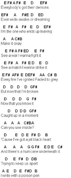 Flute Sheet Music: Jet Black Heart