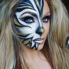 of Zebra Halloween Makeup rockcafe Fx Makeup, Cosplay Makeup, Costume Makeup, Adult Face Painting, Fantasy Make Up, Creative Makeup Looks, Make Up Art, Dramatic Makeup, Halloween Makeup Looks