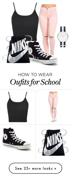 Casual outfit / Outfit for school: Crop-top + Jeans rotos rosas + Mochila nike + Convers