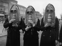 Gas masksfor the elderly, circa 1941.