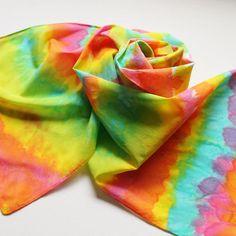 Hand Painted Silk Scarf  Handpainted Scarves Bright Rainbow