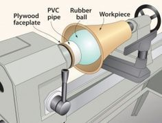 Vessel Turning Jig - Homemade vessel turning jig constructed from a rubber ball, PVC, and plywood.