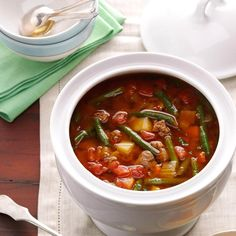 51 Cozy Slow Cooker Soups - Turn to your slow cooker for cheesy potato-bacon chowder, hearty minestrone, classic chicken noodle and more—these comforting soups, stews, chilis and chowders are ready to greet you as soon as you step in from the chill. Crock Pot Soup, Slow Cooker Soup, Slow Cooker Recipes, Cooking Recipes, Crockpot Recipes, Slow Cooking, Irish Potato Soup, Cheesy Potato Soup, Beef Soup Recipes