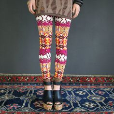 Abstract print leggings in ornament // geometric pattern, pants - made to order in size S M L XL Too cute!