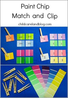 Paint Chip Match and Clip can be made with different skill sets.  Also great for fine motor.