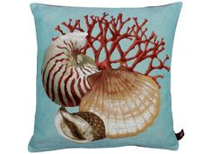 Coussin Saint Jacques coquillages turquoise - Couci Coussin