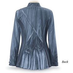 Steampunk Denim Blue Jacket ❤ liked on Polyvore featuring outerwear, jackets, steampunk jacket, blue denim jacket, steam punk jacket, blue jackets and dressy jackets