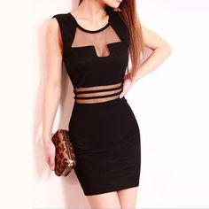 Women Sexy Mesh See-through Low Cut Sleeveless Party Cocktail Party Mini Stretchy Dress