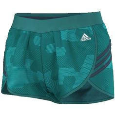 Women's Adidas Ultimate climalite Woven Running Shorts ($28) ❤ liked on Polyvore featuring activewear, activewear shorts, green, adidas activewear, logo sportswear, adidas and adidas sportswear