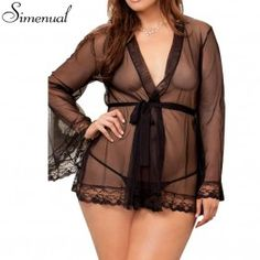 S-4XL Plus size sexy hot erotic lingerie for women nightwear 2017 lace mesh patchwork see through nightgown porn slim babydoll