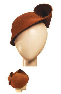 mod brown fur felt hand blocked hat by AshhaDa on Etsy, $550.00