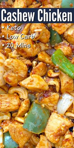 keto dinner recipes Keto Cashew Chicken - Tasty low carb chicken recipe that that's ready and on the table in 20 minutes! Toss with zoodles or serve over cauliflower rice!