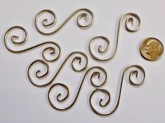 """Decorative 1 3/4"""" Curly Q's Hangers (6) for stained glass projects"""