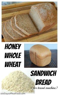 Honey Whole-Wheat Sandwich Bread (for bread machine) - Bread Recipes - Bread Honey Wheat Bread Machine Recipe, Sandwich Bread Recipe For Bread Machine, Whole Wheat Sandwich Bread Recipe, Bread Machine Recipes Healthy, Best Bread Machine, Bread Maker Recipes, Banana Bread Recipes, Honey Bread, Healthy Sandwich Bread Recipe