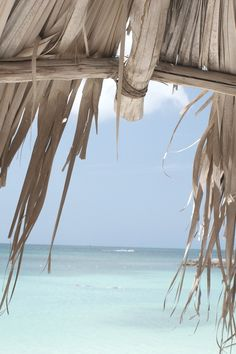 Thatched roof hut cabana at the beach on a summer day by the ocean #sea…