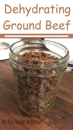 Dehydrating Ground Meat ⋆ One Acre Vintage & Pumpkin Patch Mtn. - How to properly dehydrate ground beef for soups, stews, and other recipes. Dehydrated Vegetables, Dehydrated Food, Hiking Food, Backpacking Food, Ultralight Backpacking, Hiking Tips, Hiking Gear, Canning Recipes, Meat Recipes