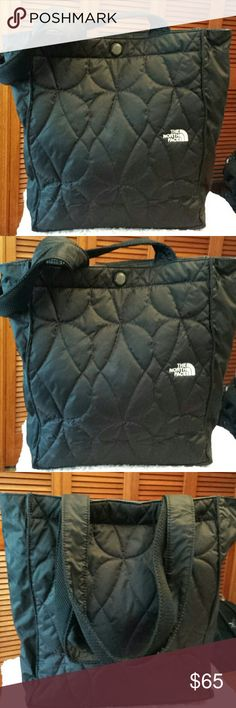 The North Face Black Quilted Tote The North Face Black Quilted Tote, Snap Closure, Keychain inside, 1 zip pocket inside, pocket for bottle, Mesh Pockets, Good condition The North Face  Bags Totes