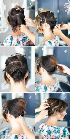 Step-by-step tutorial for creating an updo with short hair - tuto coiffure vraiment sympa pour cheveux courts Up Hairstyles, Pretty Hairstyles, Layered Hairstyles, Evening Hairstyles, Simple Hairstyles, Bridal Hairstyles, Celebrity Hairstyles, Simple Updo, Hair Simple