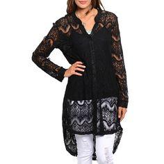 JED Women's Lace Long Length Button Down Shirt