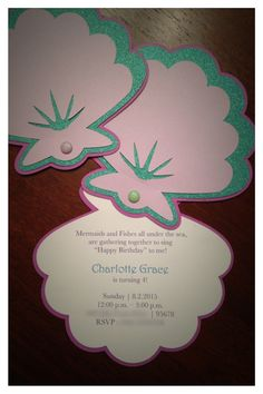 Mermaid Invitation Seashell Invitation Under by HillmanHandmade