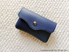 100% hand stitched handmade dark slate blue cowhide leather camera / business cards / device case / pouch / holder