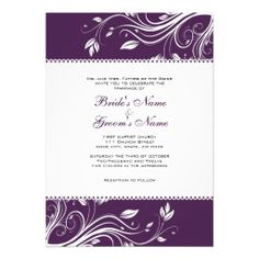 Purple+and+White+Floral+Swirls+Wedding+Invitation
