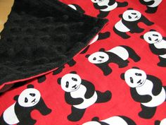 CHINA Panda baby travel blanket / minky cuddle by HeritageAndHeart, $20.00