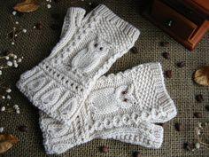 Варежки с узором сова, вязанные спицами Mittens pattern owl, knit