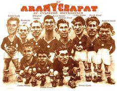 Az Aranycsapat az Évszázad mérkőzésén Tónió karikatúráján.