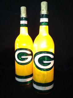 Green Bay Packers Wine Bottle Light by BottleOfLights on Etsy, $30.00