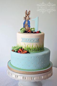 Peter Rabbit themed 1st birthday cake By K Noelle Cakes