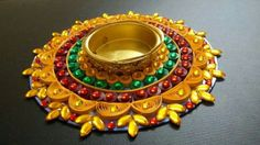 124 By Manmeet Quilling Craft, Quilling Designs, Rangoli Designs, Paper Quilling, Candle Stand, Tealight Candle Holders, Thali Decoration Ideas, Beaded Mirror, Handmade Birthday Gifts