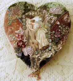 I ❤ crazy quilting, beading & embroidery . crazy quilted chocolate heart box ~By Crazy Quilting, Crazy Patchwork, I Love Heart, Crazy Heart, Ribbon Work, Silk Ribbon Embroidery, Heart Art, Lace Heart, Fabric Art
