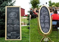 Chalkboards can be great for a ceremony program. You can pickup an old frame at any second-hand store, spray-paint it to match the rest of your décor, and then add the chalkboard paint and you'll have yourself a fun DIY project that will look great.