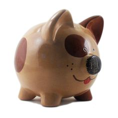 Personalized Piggy Bank Brown Puppy Dog  with hole or by ThePigPen, $42.50