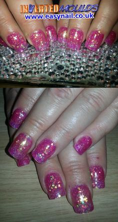 Fuchsia Glitter Inverted Moulds by Kerry Oconnor Kerry NailTech   IM Nail Training availableatwww.easynail.co.uk   #Invertedmoulds #nails #nailart #acrylicnails #fuchsia #pink #pretty #glitter